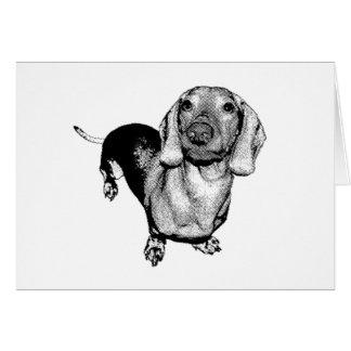 Basset allemand noir et blanc tramé Doxie de photo Carte De Vœux