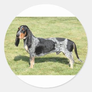 Basset Bleu de Gascogne Dog Sticker Rond