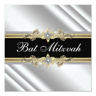 Bat mitzvah argenté de noir et d'or carton d'invitation  13,33 cm