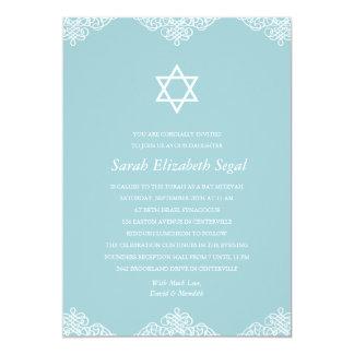 Bat mitzvah bleu élégant carton d'invitation  12,7 cm x 17,78 cm