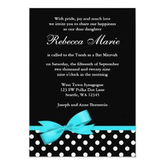 Bat mitzvah bleu et noir turquoise d'arc de pois carton d'invitation  12,7 cm x 17,78 cm