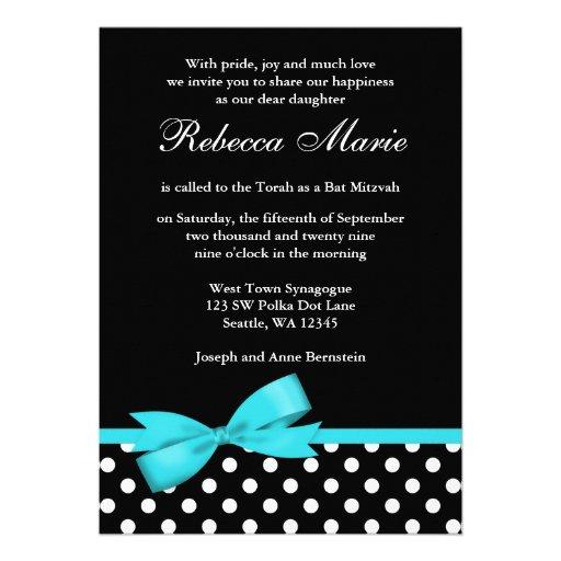 Bat mitzvah bleu et noir turquoise d'arc de pois invitations