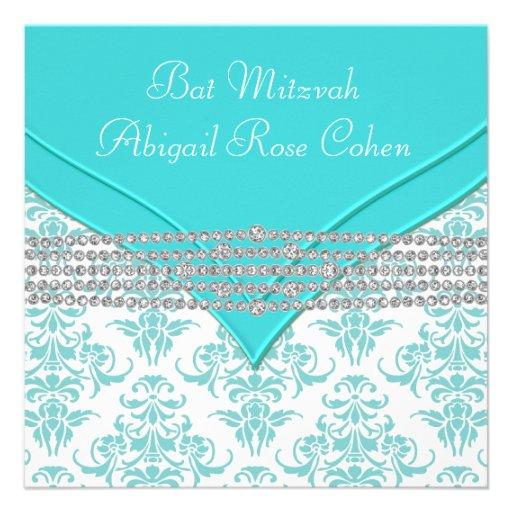 Bat mitzvah bleu turquoise de damassé bristol
