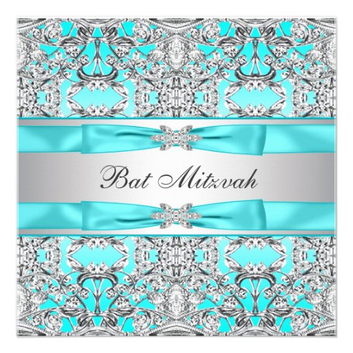 Bat mitzvah bleu turquoise invitations