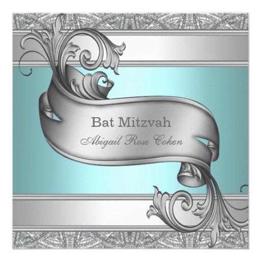Bat mitzvah bleu turquoise faire-parts