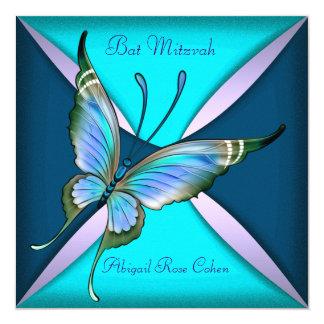 Bat mitzvah bleu turquoise pourpre de papillon cartons d'invitation