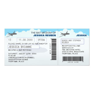 Bat mitzvah de barre de billet d'avion carton d'invitation  10,16 cm x 23,49 cm