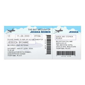 Bat mitzvah de barre de billet d'avion cartons d'invitation