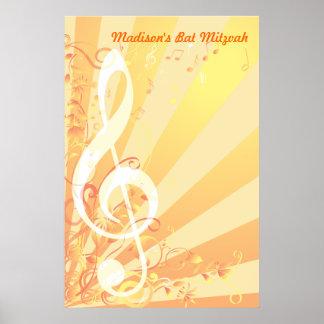 Bat mitzvah de clef de musique Signe-Dans Affiche