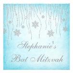 Bat mitzvah de flocons de neige de diamant du pays invitations personnalisées