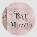 Bat mitzvah de marbre de conception sticker rond