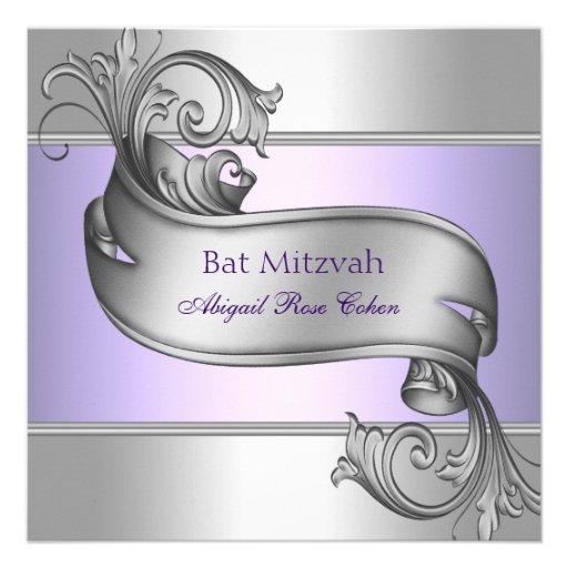 Bat mitzvah élégant de pourpre de lavande faire-part