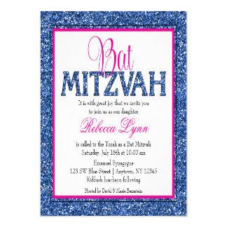 Bat mitzvah fascinant de rose de bleu marine de faire-part personnalisé