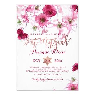 Bat mitzvah floral d'aquarelle de PixDezines Carton D'invitation 12,7 Cm X 17,78 Cm