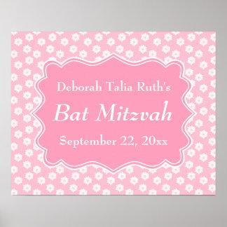 Bat mitzvah floral rose affiche