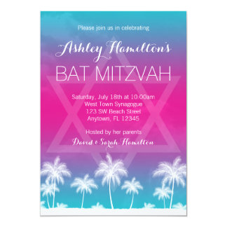 Bat mitzvah rose bleu turquoise tropical carton d'invitation  12,7 cm x 17,78 cm