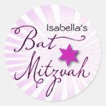 Bat mitzvah rose et pourpre de starburst adhésifs ronds