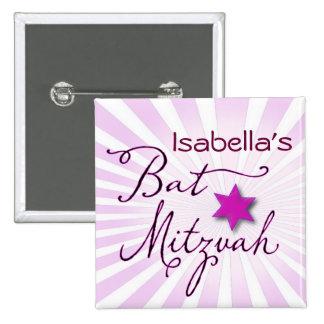 Bat mitzvah rose et pourpre de starburst badges