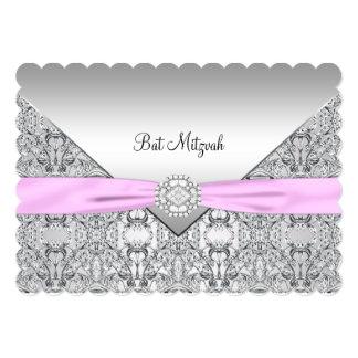 Bat mitzvah rose carton d'invitation  12,7 cm x 17,78 cm