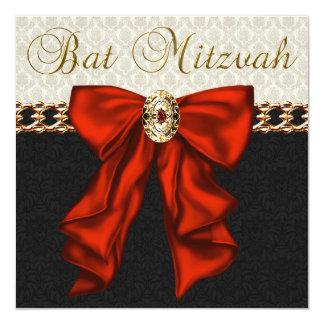 Bat mitzvah rouge de noir et d'or carton d'invitation  13,33 cm