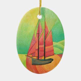 Bateau à voile abstrait de cubiste ornement ovale en céramique