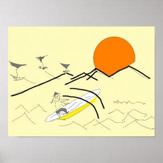 bateau à voile asiatique d'homme vers le soleil affiche