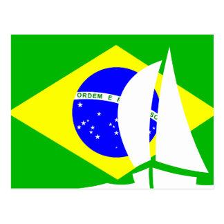 Bateau à voile brésilien de drapeau Brésil nautiqu Cartes Postales