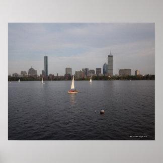 Bateau à voile, Charles River, Boston, mA Affiche