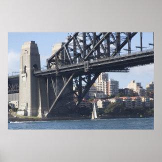 Bateau à voile de pont de port posters