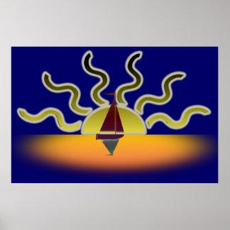 Bateau à voile et affiche d'art de Sun