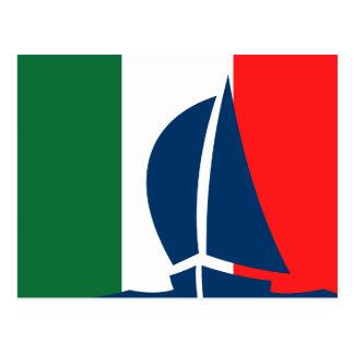 Bateau à voile italien de drapeau Italie nautique Cartes Postales