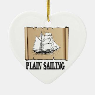 bateau à voile simple ornement cœur en céramique