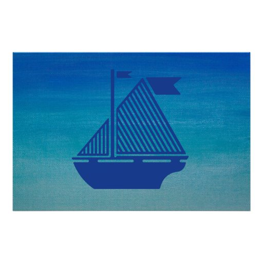 Bateau à voile sur l'océan affiches
