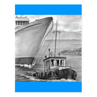Bateau de croisière de remorquage de bateau de cartes postales