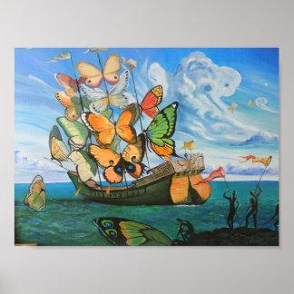 Bateau de papillon affiches