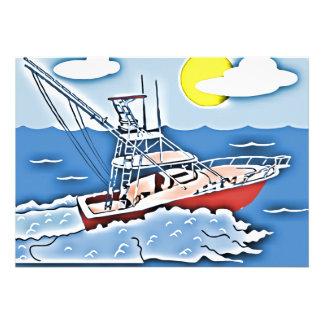 Bateau de pêche sur les hautes mers invitations