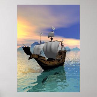 Bateau de pirate affiche