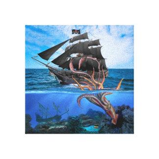 Bateau de pirate contre le calmar géant toile