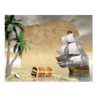Bateau de pirate qui découvre un trésor carte postale
