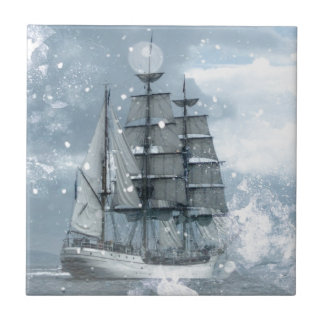 bateau de pirate vintage de tempête de neige petit carreau carré