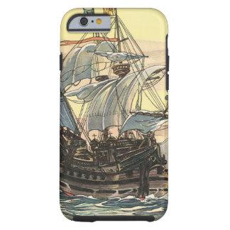 Bateau de pirate vintage, navigation de galion sur coque iPhone 6 tough