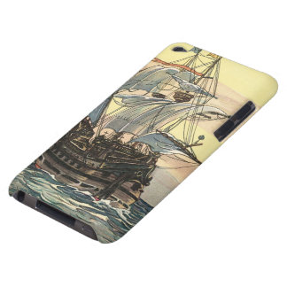 Bateau de pirate vintage, navigation de galion sur étuis iPod touch
