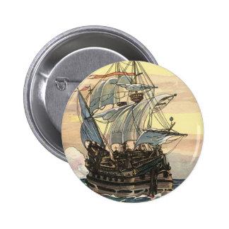 Bateau de pirate vintage, navigation de galion sur pin's