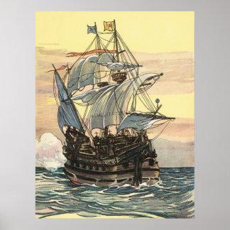 Bateau de pirate vintage, navigation de galion sur poster