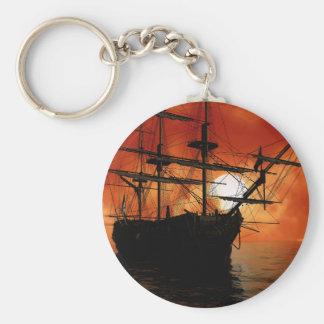 Bateau de pirate vintage porte-clé rond