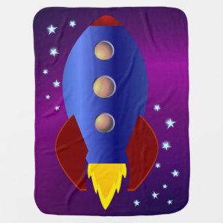 Bateau de Rocket aux étoiles Couverture De Bébé