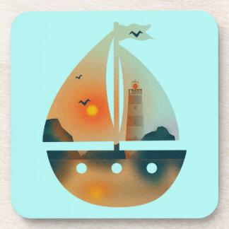 Bateau de Sunset_sail Dessous-de-verre