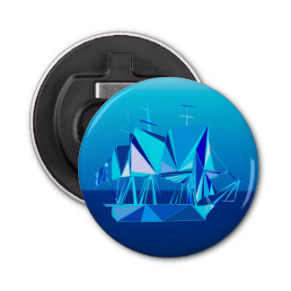 Bateau de tondeuse géométrique moderne, bleu de