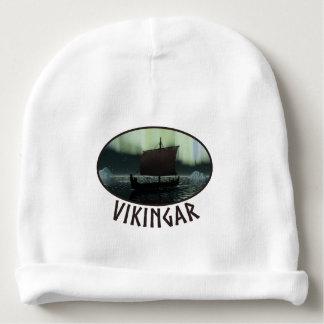 Bateau de Viking et lumières du nord Bonnet De Bébé