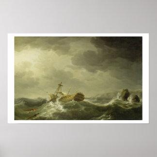 Bateau détruit sur une côte rocheuse, c.1747-50 (h poster